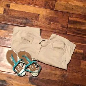 White House Black Market Bermuda Shorts, 0, khaki